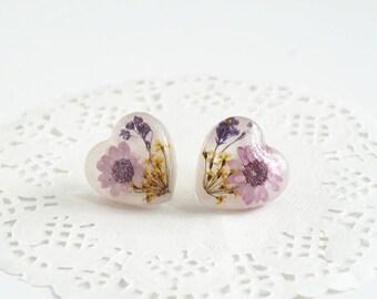 """Genuine flower earrings """"Sweet Heart"""""""