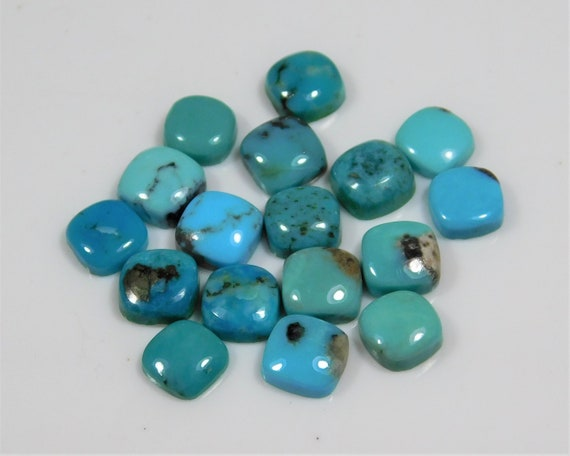 Details about  /Natural Tibetan Turquoise 6X6 mm Cushion Cabochon Loose Gemstone AB01