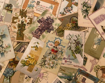 Easter vintage postcards from the early 1900s, sold in sets of five, nearly all contain messages -- perfect for junk journals