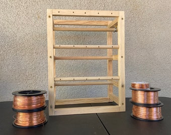 28 Custom made Wooden wire spool cable Craft rack Decor Display Jewelry necklace braclet string sew ribbon 5 roll holders wood tree reels