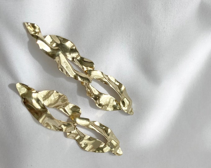 Sustainable Gold brass flow party earrings