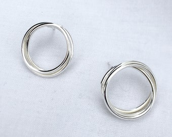 Recycled Silver circle studs