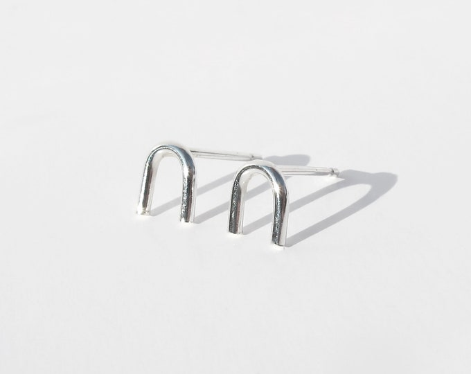 Silver mini arc studs. recycled silver studs. eco silver earrings. shape studs. gift for her.