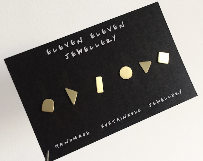 Mix + Match stud set . Geometric shape studs. Gold brass studs. Gifts for her.