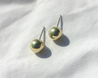 Womens small gold ball studs