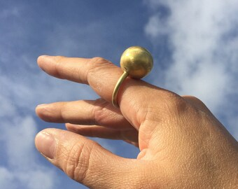 Large brass sphere statement ring