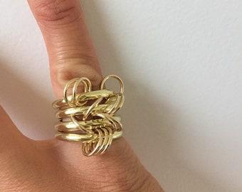 Gold triple circle ring