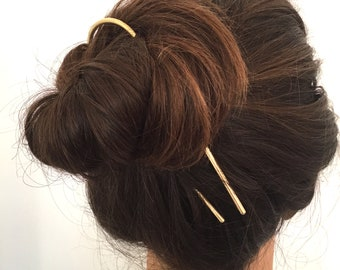 Large Brass Hair Pin. Sustainable accessories. Womens hair accessory. Gifts for her.