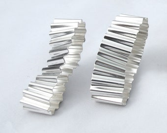 Recycled Silver textured oblong earrings