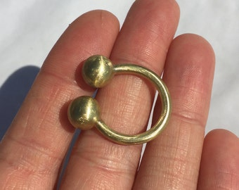 Double brass sphere statement ring