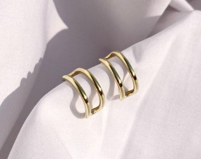 Womens gold Cove hoops