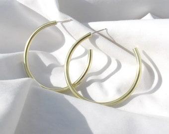 Recycled brass hoop earrings