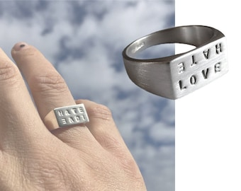 love/hate signet tattoo inspired ring