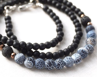 ON VACATION, Simple Natural Stone Beaded Necklace for men, Matte Black and Blue Agate, Lava Stone, Hematite
