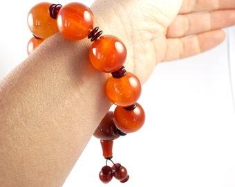 Large Natural Madagascar Carnelian Bracelet, Real Gemstone Bracelet, Chunky Bold Statement Bracelet, Prayer Meditation, mothers day gift mom