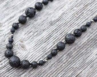 ON VACATION, Long Natural Stone String Necklace, Diffuser Black Lava rock bead hand Knotted Necklace Bohemian Artisan Necklace