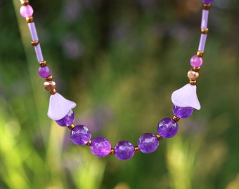 ON VACATION, Purple Agate Necklace, Thin Small Beaded Necklace, Colorful Bohemian Necklace, Handmade Gift