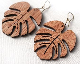 ON VACATION, Large Monstera Leaf Earrings, Natural Wooden Earrings, Lightweight Earrings Bohemian Style, Organic Boho Dangle