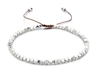 ON VACATION, Thin Silver Bracelet, Friendship Bracelet, Adjustable String Bracelet, Minimalist Small Bead Bracelet, Beach Jewelry