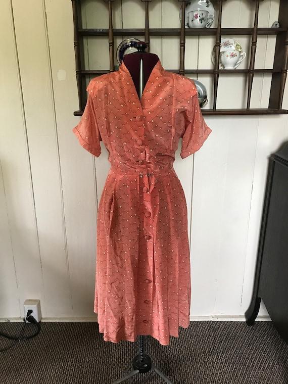 1940s pink daydress