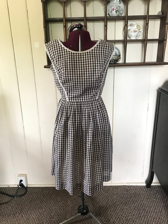 1940 Brown checkered pinafore
