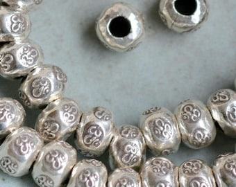 Sterling .925 Silver Round Filigree Knitted Spacer Beads With 2 Holes