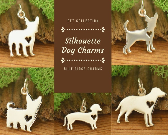 Labrador Retriever Charm Silhouette Dog Charms French Bulldog Charm Dachshund Charm Yorkshire Terrier Charm Dog with Heart Charm