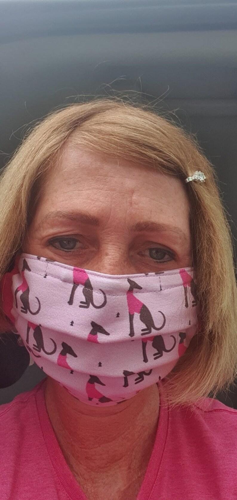112Carlota galgos face mask Sitting galgos pink