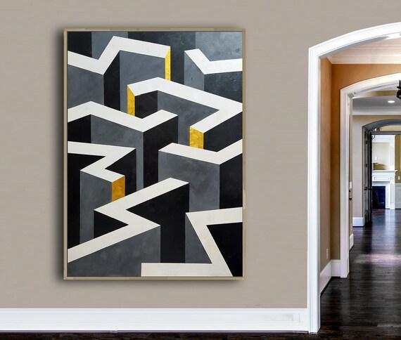 Colorful Large Abstract Original Painting Canvas Wall Art Minimalist Wall D\u00e9cor Geometric Figures Print