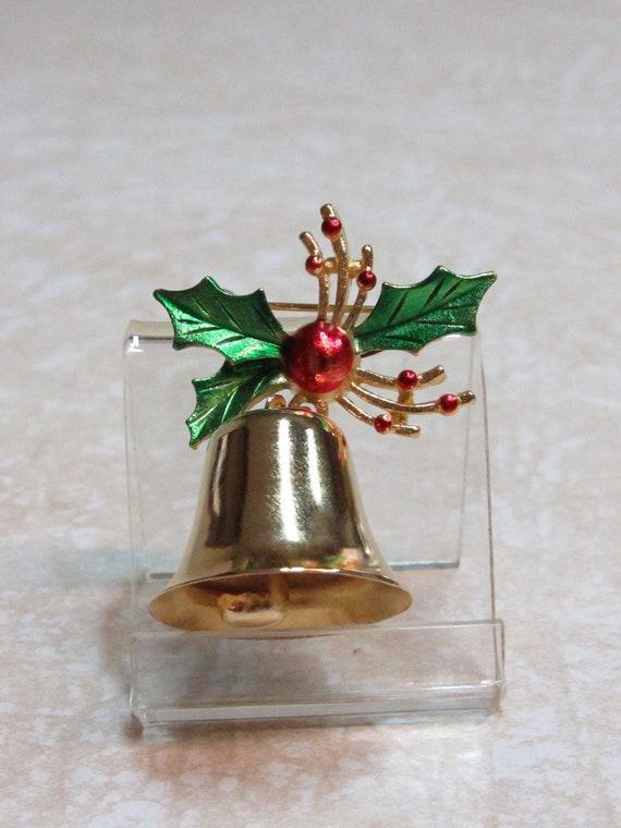 Vintage Christmas Bell Pin Brooch - image 1