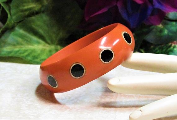 Mid-Century Orange & Black Polka Dot Bangle Bracel