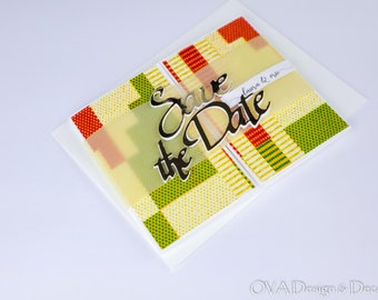 Invitation card, Save the date card, Light Green Kente print fabric save the date, African wedding theme