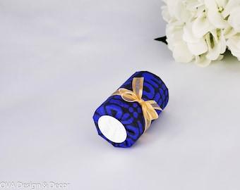 African fabric favor Box 6 Ct, Cylinder gift box, Indigo favor box, Wedding favor, Dragee boxes, Candy box, Birthday