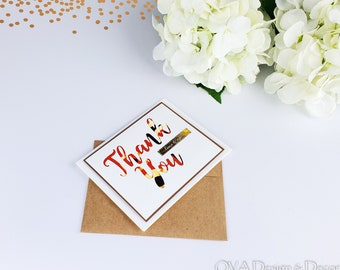 Thank you card, Thank you note,  African print fabric, Tribal print fabric, Traditional wedding, Anniversary, Reception, Homecoming