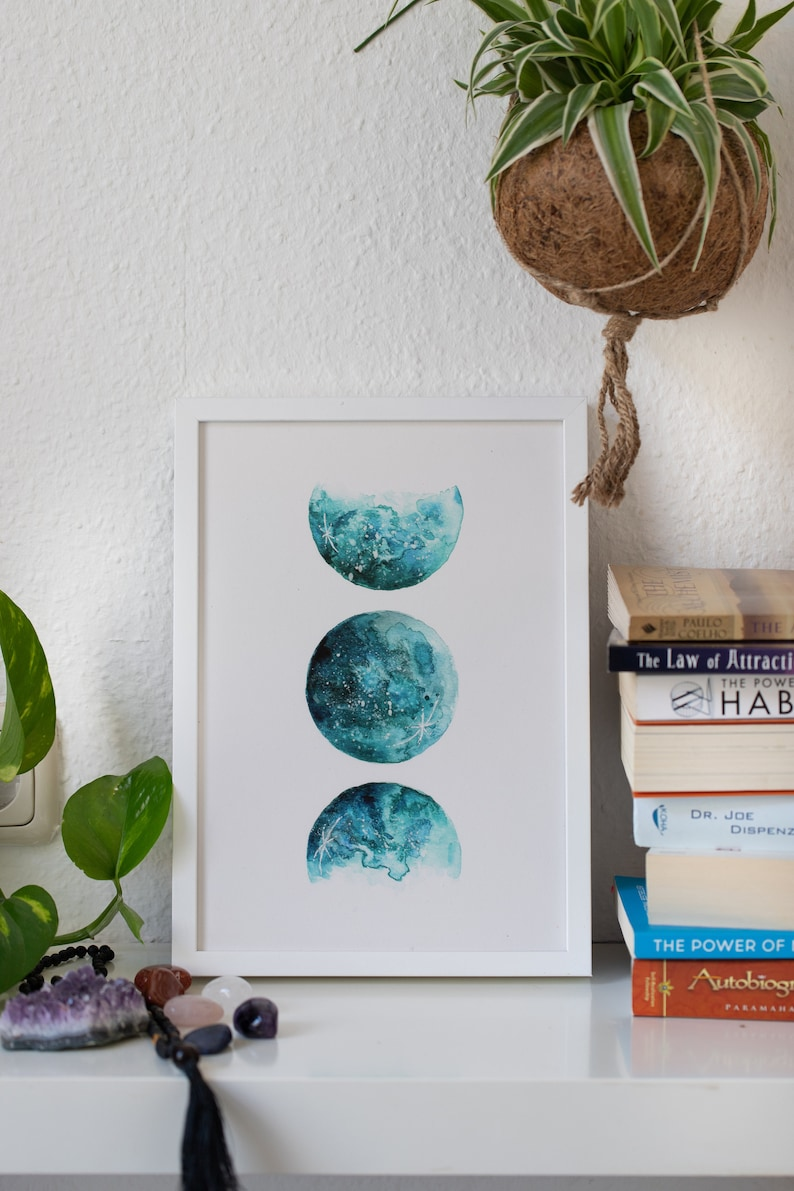 Watercolor FineArt Print  Moon Phases  A4 image 0