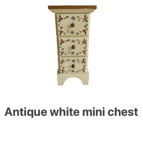 Antique white mini chest