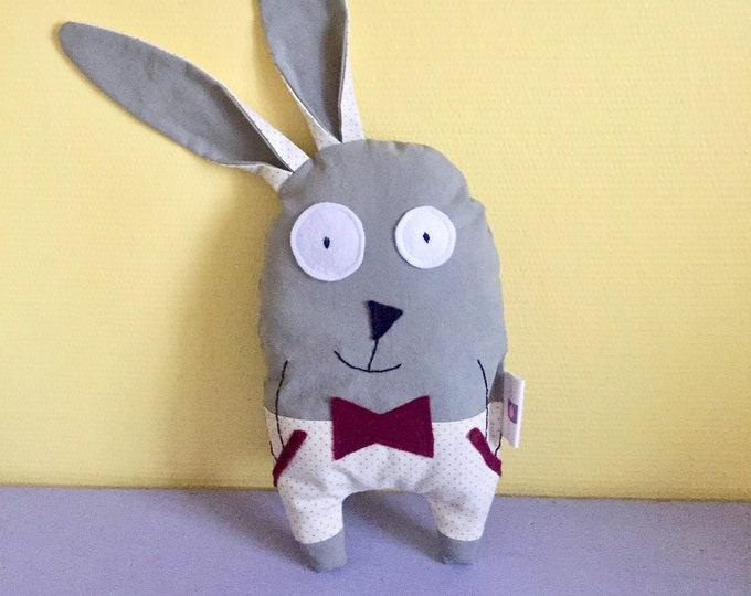 "Plush rabbit ""Raoul"" customizable name, khaki colored fabric, birth gift, baby gift"