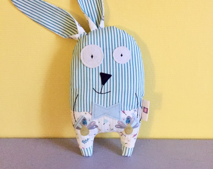 """Plush rabbit """"Raoul"""" customizable name, striped fabric green anise and white, birth gift, baby gift"""