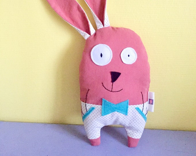 """Plush rabbit """"Raoul"""" customizable name, made of coral color fabric, birth gift, baby gift"""