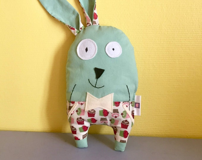 """Plush rabbit """"Raoul"""" customizable name, fabric with muffin prints, birth gift, baby gift"""
