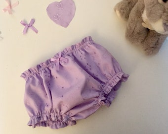 Baby bloomers in delicate English embroidery
