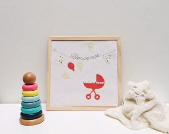 Tableau naissance fille en tissu