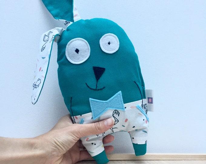 "Plush rabbit ""Raoul"" customizable name, dark green fabric, birth gift, baby gift"