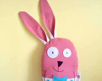 Plush Raoul My Rabbit, in Coral