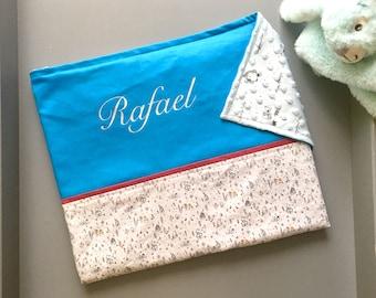 Couverture bébé prénom personnalisé, doublée tout en coton, Rafael