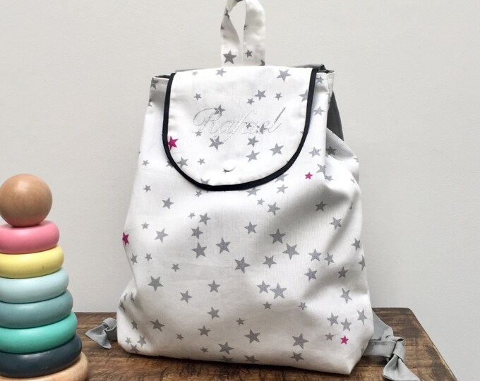 Sac à goûter, sac à doudou, personnalisé, pour la crèche, la nounou, la maternelle...