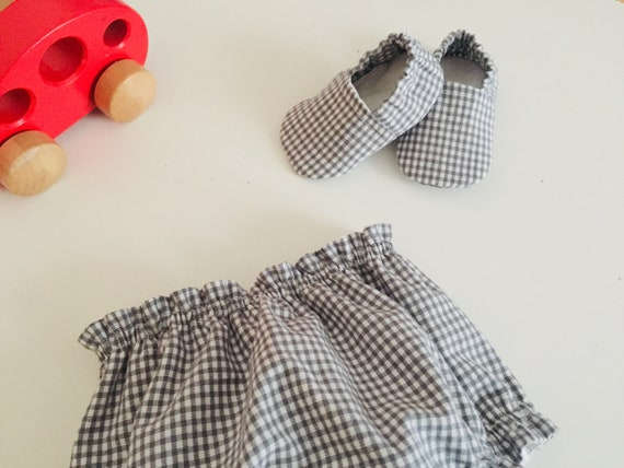 Birth boxes, duo bloomer and matching slippers, in vichy fabric