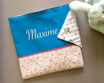 Couverture bébé prénom personnalisé, doublée tout en coton, Maxime