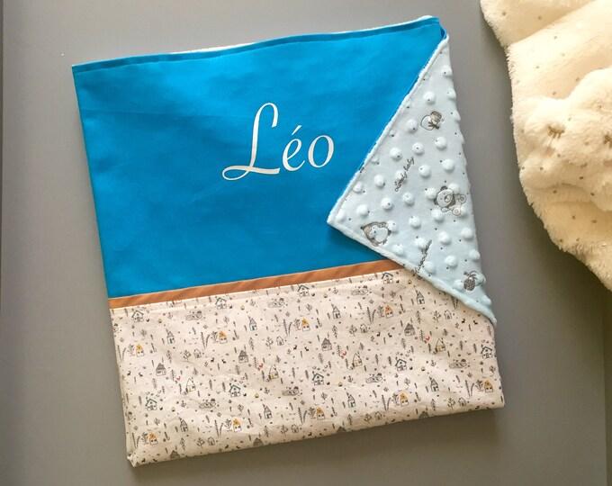 Couverture bébé prénom personnalisé, doublée tout en coton, Léo