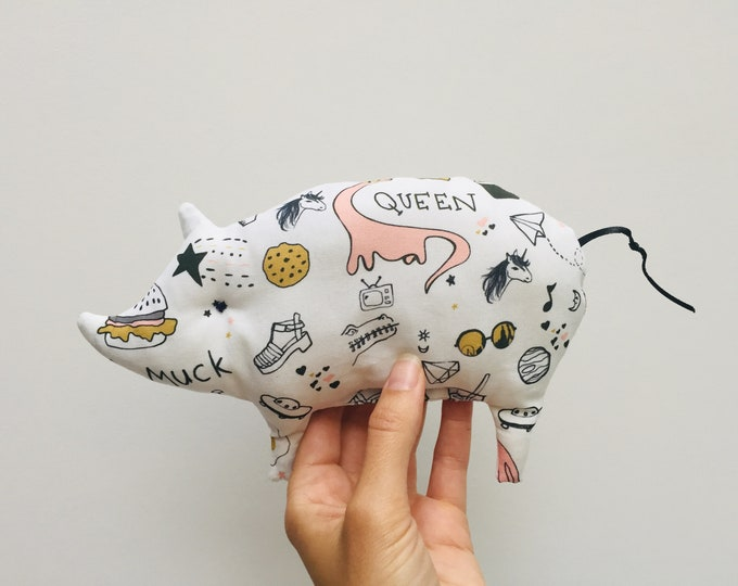 Small rattle pigs, for babies, made of certified fabric, unique pieces